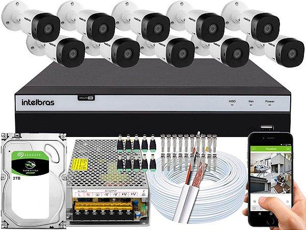 Kit CFTV Intelbras 10 Câmeras VHD 1220 B G5 e DVR de 16 Canais MHDX 3116 2TB