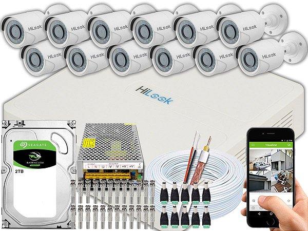 Kit CFTV Hilook 12 Câmeras THC-B120C-P e DVR de 16 Canais DVR-116G-F1 2TB
