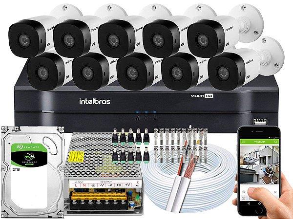 Kit CFTV Intelbras 10 Câmeras VHL 1220 B e DVR de 16 Canais MHDX 1116 2TB