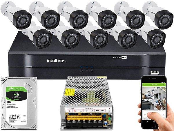 Kit CFTV Intelbras 11 Câmeras VHD 3230 B G4 e DVR de 16 Canais MHDX 1116 1TB Sem Cabo