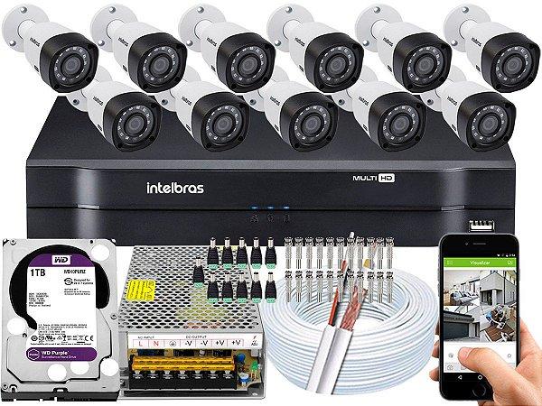 Kit CFTV Intelbras 11 Câmeras VHD 3230 B G4 e DVR de 16 Canais MHDX 1116 1TB WD Purple
