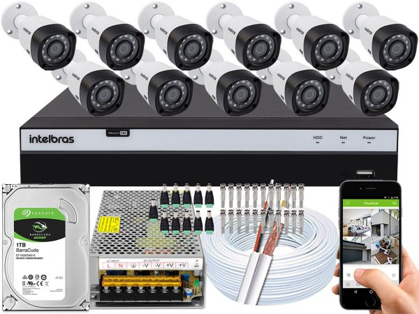 Kit CFTV Intelbras 11 Câmeras VHD 3230 B G4 e DVR de 16 Canais MHDX 3116 1TB