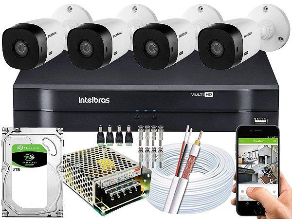 Kit CFTV Intelbras 04 Câmeras VHL 1220 B e DVR de 04 Canais MHDX 1104 2TB