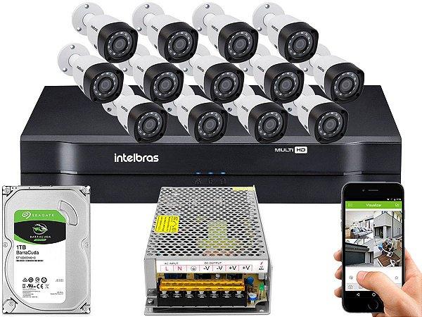 Kit CFTV Intelbras 13 Câmeras VHD 3230 B G4 e DVR de 16 Canais MHDX 1116 1TB Sem Cabo