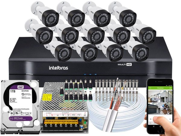 Kit CFTV Intelbras 13 Câmeras VHD 3230 B G4 e DVR de 16 Canais MHDX 1116 1TB WD Purple