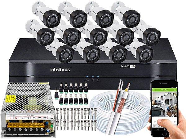 Kit CFTV Intelbras 13 Câmeras VHD 3230 B G4 e DVR de 16 Canais MHDX 1116 Sem HD