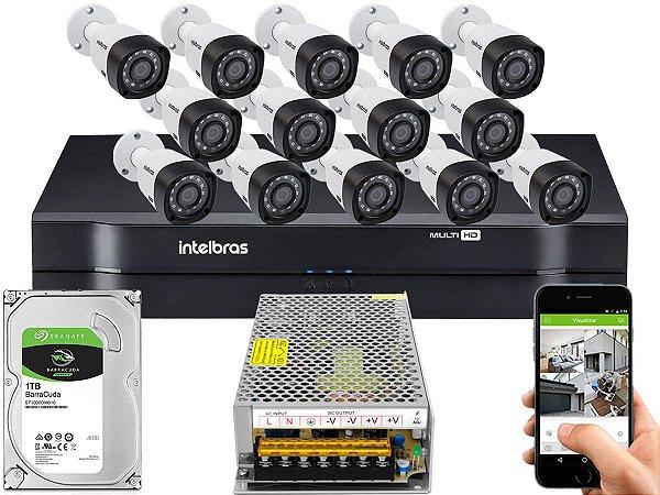 Kit CFTV Intelbras 14 Câmeras VHD 3230 B G4 e DVR de 16 Canais MHDX 1116 1TB Sem Cabo