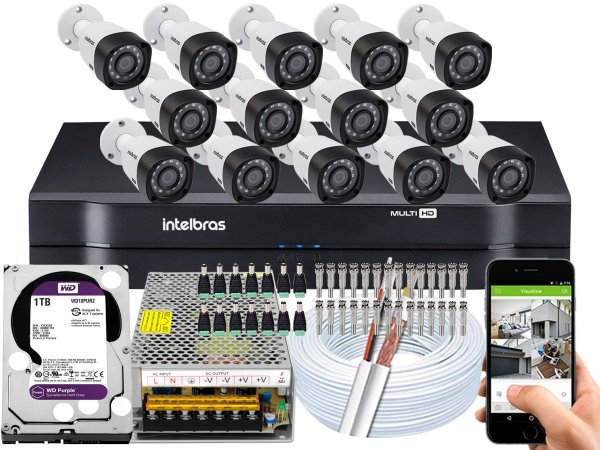 Kit CFTV Intelbras 14 Câmeras VHD 3230 B G4 e DVR de 16 Canais MHDX 1116 1TB WD Purple