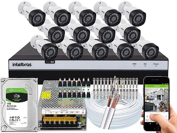 Kit CFTV Intelbras 14 Câmeras VHD 3230 B G4 e DVR de 16 Canais MHDX 3116 1TB