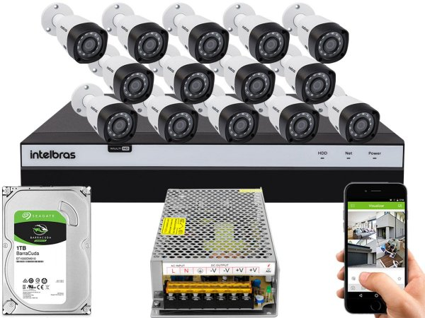 Kit CFTV Intelbras 14 Câmeras VHD 3230 B G4 e DVR de 16 Canais MHDX 3116 1TB Sem Cabo