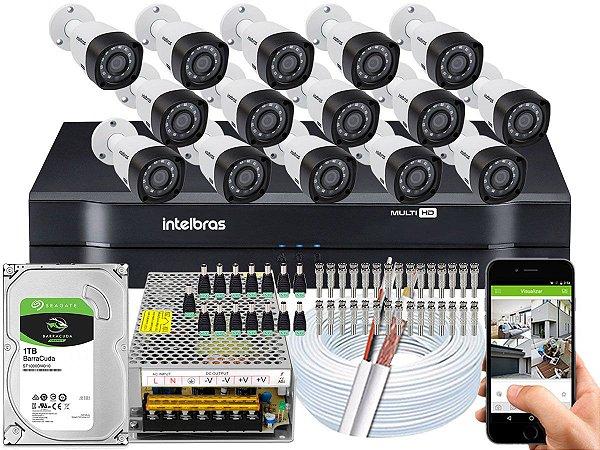 Kit CFTV Intelbras 15 Câmeras VHD 3230 B G4 e DVR de 16 Canais MHDX 1116 1TB