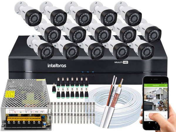 Kit CFTV Intelbras 15 Câmeras VHD 3230 B G4 e DVR de 16 Canais MHDX 1116 Sem HD