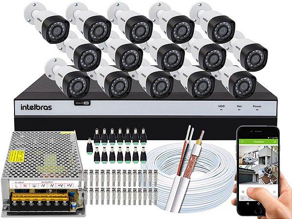 Kit CFTV Intelbras 15 Câmeras VHD 3230 B G4 e DVR de 16 Canais MHDX 3116 Sem HD