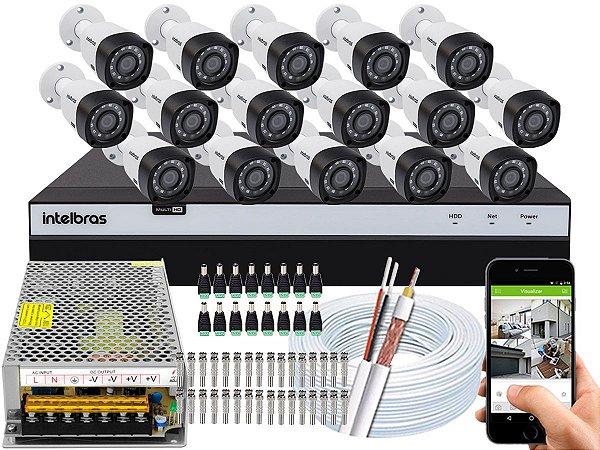 Kit CFTV Intelbras 16 Câmeras VHD 3230 B G4 e DVR de 16 Canais MHDX 3116 Sem HD