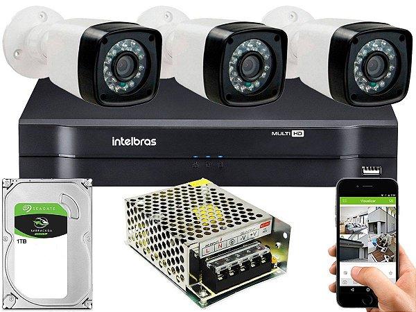 Kit CFTV 03 Câmeras Importadas e DVR de 04 Canais MHDX 1104 1TB Sem Cabo