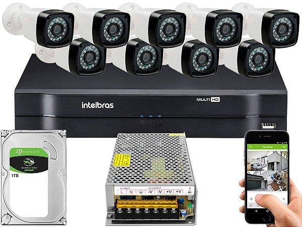 Kit CFTV 09 Câmeras Importadas e DVR de 16 Canais MHDX 1116 1TB Sem Cabo
