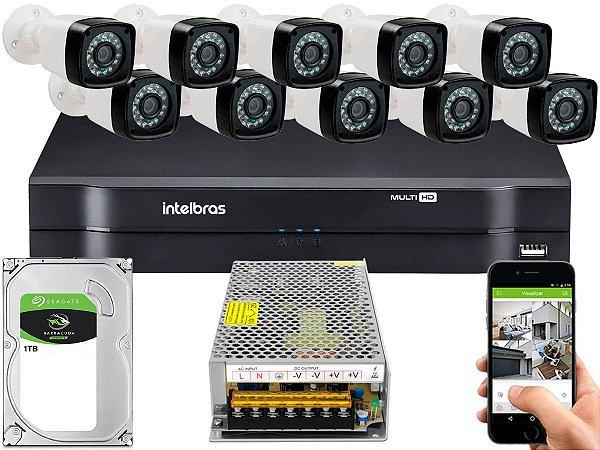 Kit CFTV 10 Câmeras Importadas e DVR de 16 Canais MHDX 1116 1TB Sem Cabo