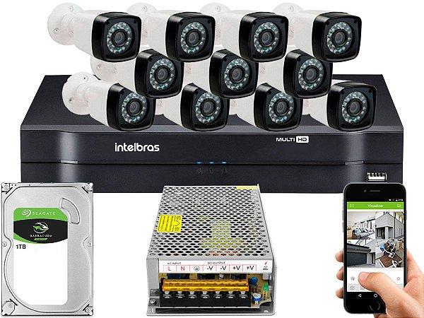 Kit CFTV 11 Câmeras Importadas e DVR de 16 Canais MHDX 1116 1TB Sem Cabo