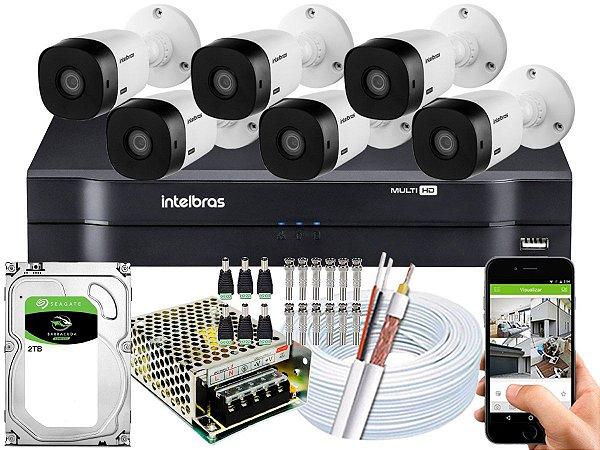 Kit CFTV Intelbras 06 Câmeras VHL 1220 B e DVR de 08 Canais MHDX 1108 2TB