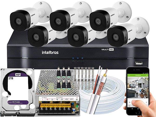Kit CFTV Intelbras 06 Câmeras VHL 1220 B e DVR de 08 Canais MHDX 1108 2TB WD Purple 10A