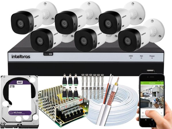 Kit CFTV Intelbras 06 Câmeras VHL 1220 B e DVR de 08 Canais MHDX 3108 2TB WD Purple