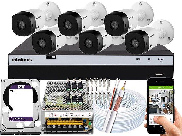 Kit CFTV Intelbras 06 Câmeras VHL 1220 B e DVR de 08 Canais MHDX 3108 2TB WD Purple 10A