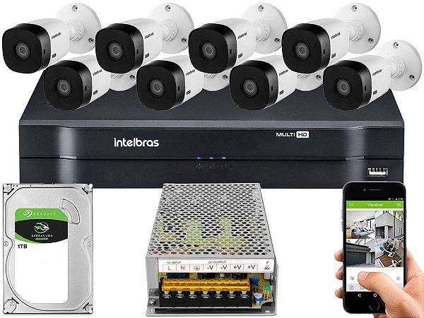 Kit CFTV Intelbras 08 Câmeras VHL 1220 B e DVR de 08 Canais MHDX 1108 1TB Sem Cabo
