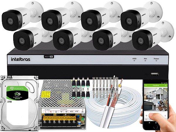 Kit CFTV Intelbras 08 Câmeras VHL 1220 B e DVR de 16 Canais MHDX 3116 2TB