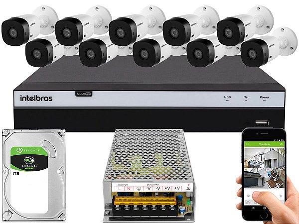 Kit CFTV Intelbras 10 Câmeras VHL 1220 B e DVR de 16 Canais MHDX 3116 1TB Sem Cabo