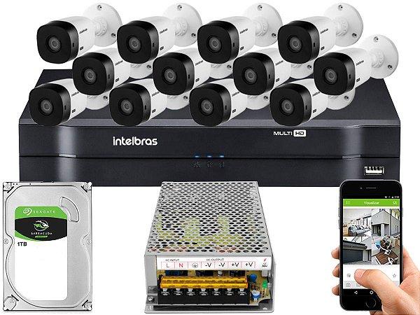 Kit CFTV Intelbras 12 Câmeras VHL 1220 B e DVR de 16 Canais MHDX 1116 1TB Sem Cabo