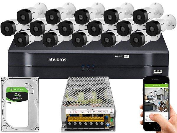 Kit CFTV Intelbras 16 Câmeras VHL 1220 B e DVR de 16 Canais MHDX 1116 1TB Sem Cabo