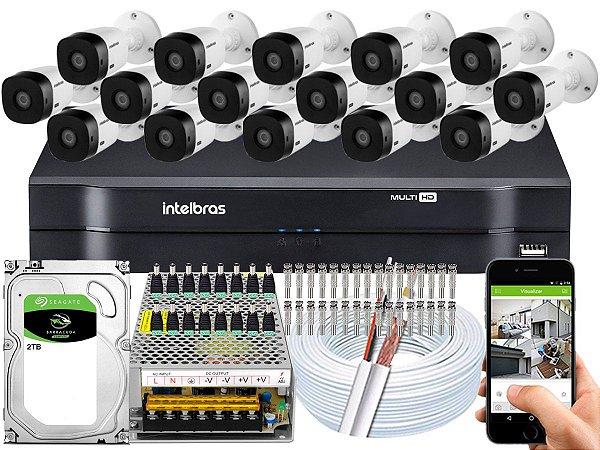Kit CFTV Intelbras 16 Câmeras VHL 1220 B e DVR de 16 Canais MHDX 1116 2TB