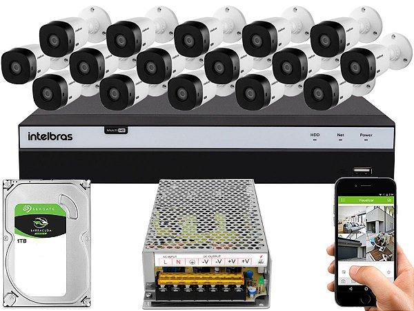 Kit CFTV Intelbras 16 Câmeras VHL 1220 B e DVR de 16 Canais MHDX 3116 1TB Sem Cabo