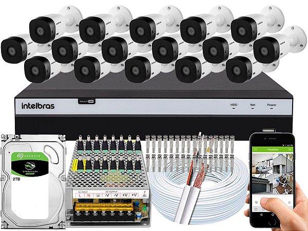 Kit CFTV Intelbras 16 Câmeras VHL 1220 B e DVR de 16 Canais MHDX 3116 2TB