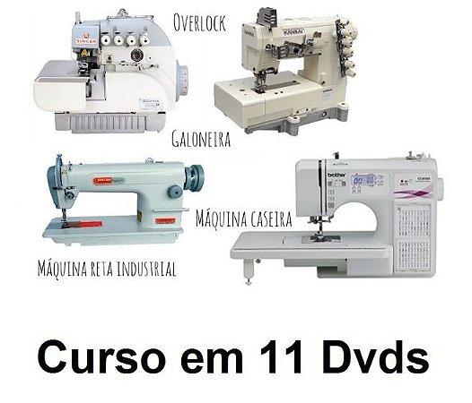Curso de Mecânico de Máquinas de Costura, Aparelhos e Calcadores. Kit com 11 Dvds e Frete Grátis.