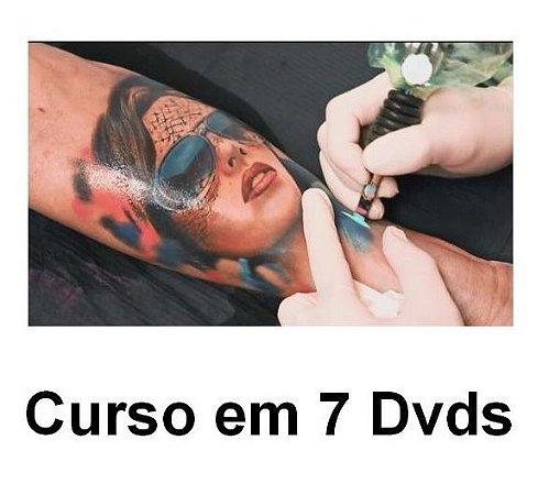 Curso de Tatuagem em 7 Dvds, Vídeo Aulas em Português.