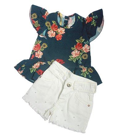 Conjunto short camisa estampada