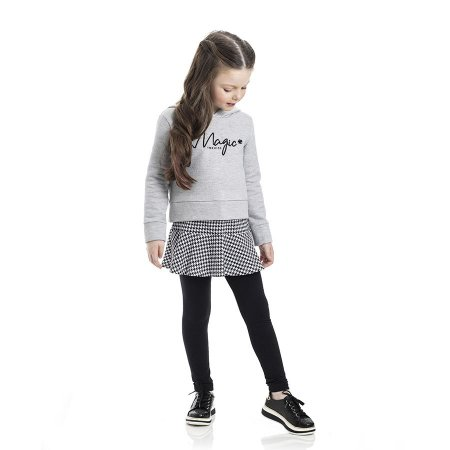 Conjunto Infantil Feminino Magic Blusa Moletom - Saia Cotton - Legging Cotton TMX