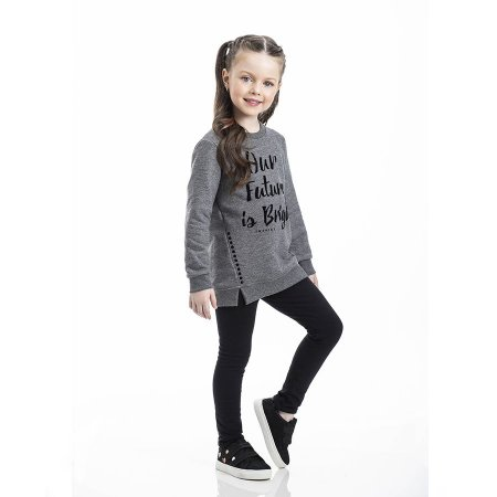 Conjunto Infantil Feminino Our Future is Bright Blusa Moleton - Legging Molecotton TMX