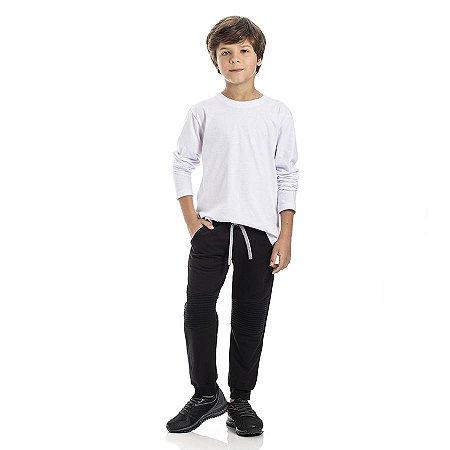 Calça Infantil Masculino Moletom Jogger Com Recorte TMX