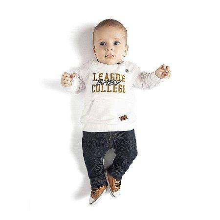 Conjunto Bebê Masculino Blusa Moletom - Calça Cotton Jeans TMX