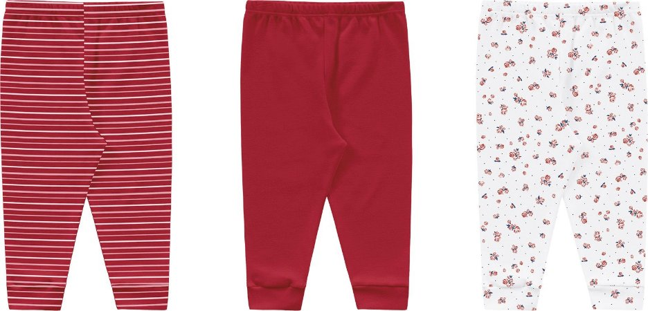 Kit calça menina sortido vermelho