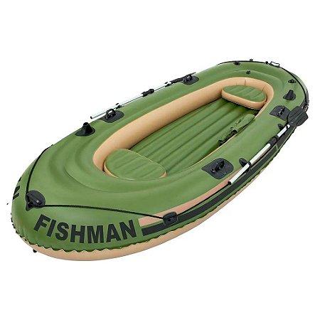 Bote Inflável Mor Fishman 4 Pessoas 350 Remos Bomba Barco