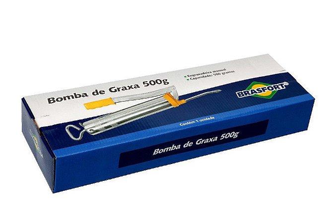 Bomba De Graxa Engraxadeira Manual 500g Bico Rígido Flexível .