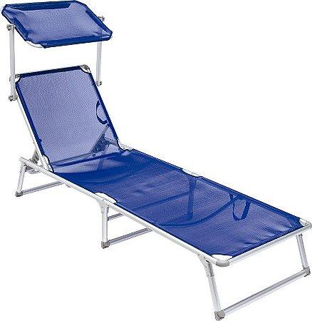 Cadeira Espreguiçadeira Buzios Aluminio Dobravel Azul Bel