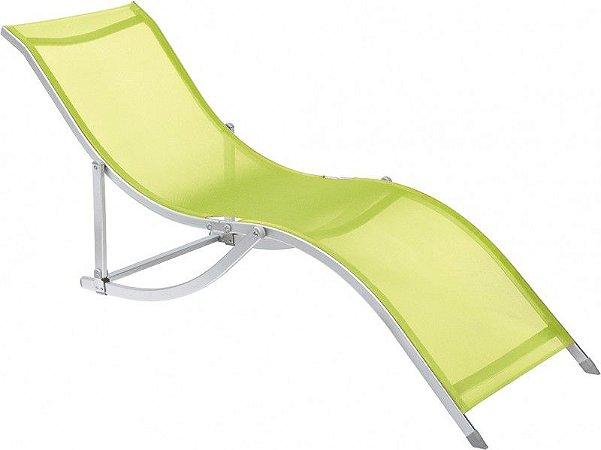 Cadeira Espreguiçadeira Em S Alumínio Textilene Verde,
