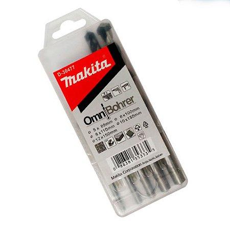 Kit Brocas Multiuso 5 A 12 Mm C/ 5 Pç Madeira Metal Concreto
