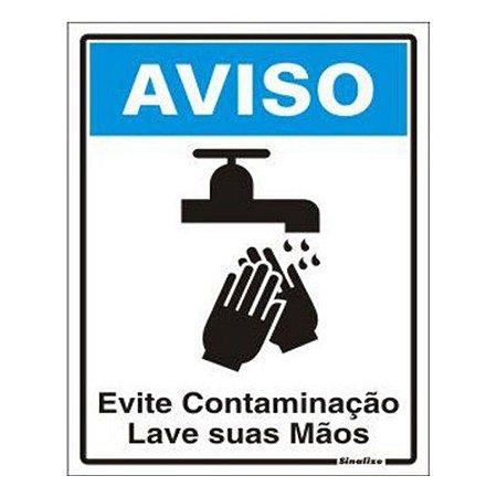 Placa 15 X 20 Poliestireno Aviso Evite Contamin Lave As Maos