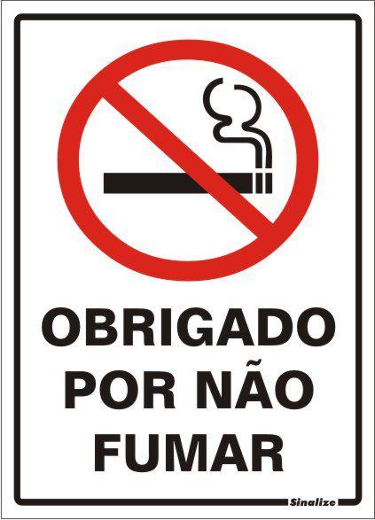 Placa Poliestireno 20 X 30  Obrigado Por Nao Fumar