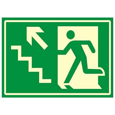 Placa Fotoluminescente 20 X 30 Saida Emergencia Escada Esque